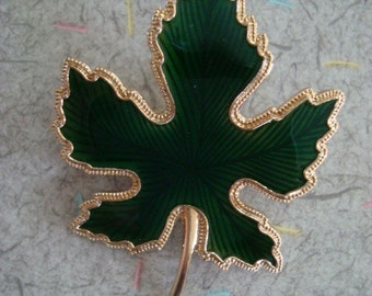 Vintage 1950's Green and Gold Enameled Leaf Brooch-Excellent Condition
