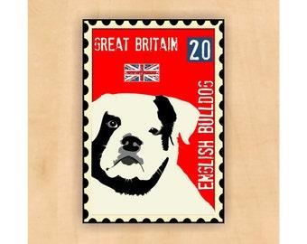 English Bulldog Art Magnet Great Britain Postage Stamp  2 x3