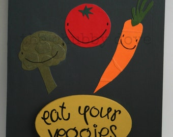 eat your veggies - wall art - broccoli, carrot, tomato  - eat your vegetables sign - kitchen