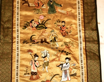 19th C. Chinese Silk Embroidery Needlework Tapestry of wise men philosophers musicians women  gardeners elders c. 1890