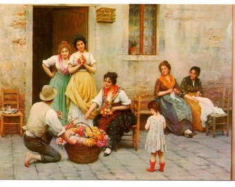 "Vintage Postcard, ""The Venetian Flower Vendor"", 19th Century Austrian Painting"