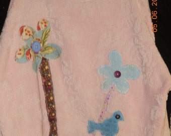 Vintage Chenille Floral Pullover with Bluebird
