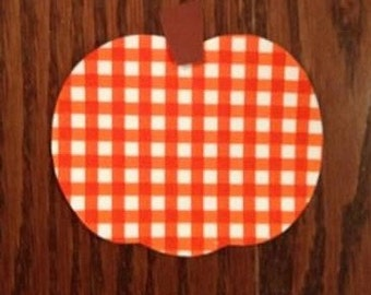 Orange Gingham Pumpkin Iron On Applique, Add An Initial for Free, You Choose Fabric