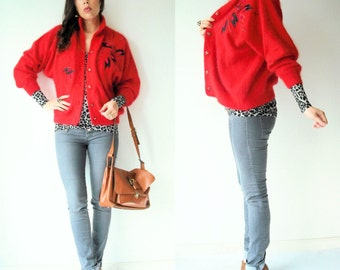SALE...80's Vintage Red Angora Sweater Jacket / Cocoon Cardigan / Beaded & Embroidered Appliques
