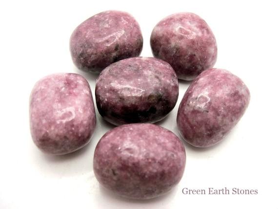 One Lepidolite Tumbled Stone, Feng Shui, Crystal Healing, Wire Wrapping, Artisan, Stone, Rocks, Reiki
