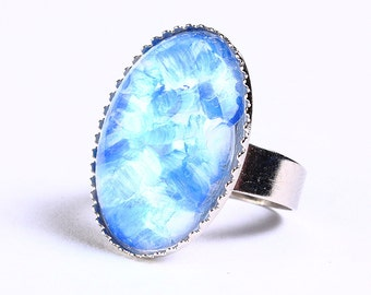 Handpainted royal blue white silver adjustable ring cocktail ring (694-4) - Flat rate shipping