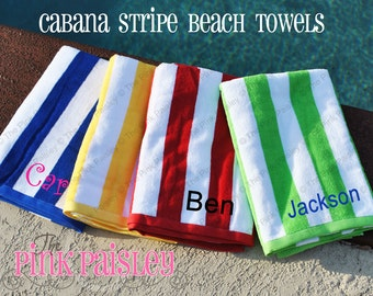 Monogram Beach Towel   Monogrammed Cabana Stripe Beach Towel
