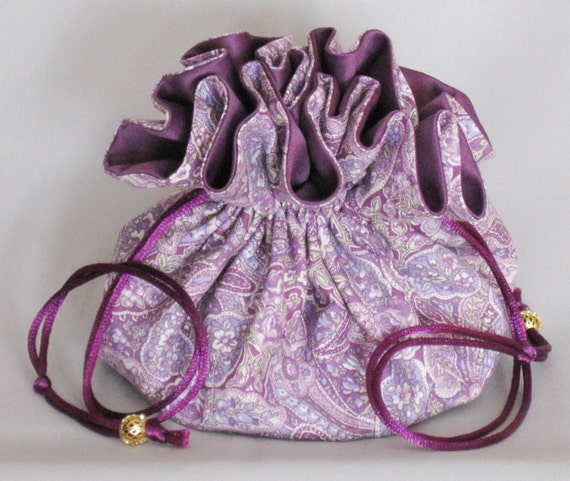 Jewelry Travel Tote----Drawstring Organizer Pouch---Purple Paisley Design-- -----Large Size