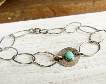 Kingsmen Turquoise Bracelet- Sterling Silver Bracelet- Magnetic Clasp-Rustic Hammered Links, Chain Bracelet