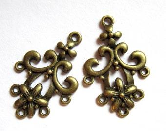 6 Earring chandeliers antique bronze lead free nickle free jewelry findings 31x21x2mm Ea8536 (F6)