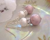Caitlin -  Pink and White Bridal Drop Earrings. Swarovski pearl Dangle Earrings. Bridesmaids powder rose earrings. By kathcoJewellery