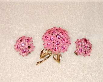 Vintage 1960s Rhinestone with Enamel Brooch Pin and Earring Set
