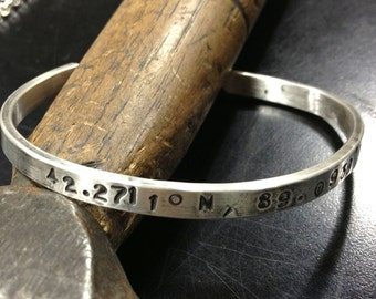 Personalized Coordinates Sterling Silver Cuff Bracelet. Latitude and Longitude. Made to Order.