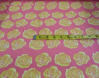 Pink with Yellow Roses Large Print Fabric By Tina Givens #399E  1 2/3 Yard
