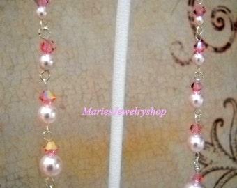 Handmade Long Pink Swarovski  Pearl & Crystal Earrings, Sterling Silver