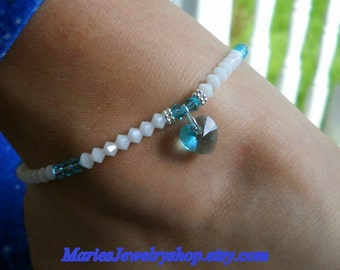 Swarovski Crystal Stretch Ankle Bracelet with Crystal Heart Drop