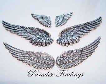 Wings, 3 DIFFERENT SIZE Sterling Silver Wings With Great Antique Detailing, Necklace Connectors or Supply