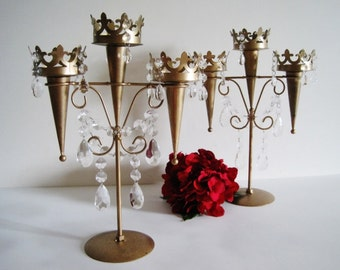 Coronated in Camelot Pair 3 Candle Chandelier Candelabras MADE TO ORDER