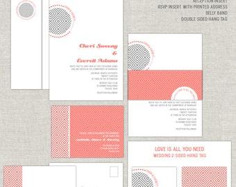 Coral Wedding Invitations, Geometrical Wedding Invitation, Gray Wedding Invites, Bold, Contemporary, Belly Band, Minimalist, Simple