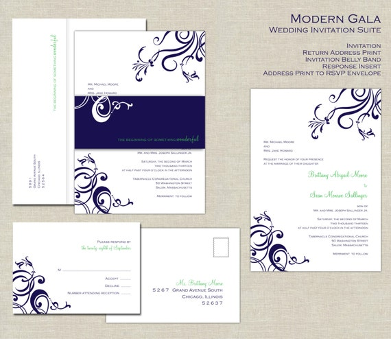 Navy Blue And Green Wedding Invitation Suite Belly Band