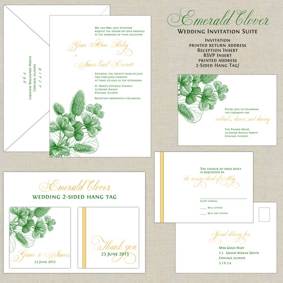 emerald green wedding invitations botanical wedding, Wedding invitations