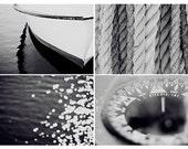 Nautical photography set 8x12 set of four nautical photograph black and white modern art print lake house wall art cottage chic