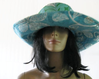 Wide Brim Sun Hat Turquoise Green  Amy Butler Tropical Blue Fabric