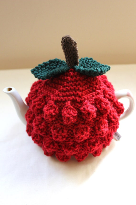Raspberry Tea Cosy - Pure Merino Wool - Handknitted by Tafferty Designs - choose size