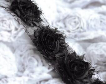 1 Yard Shabby Rose Trim 14 Shabby Flower Shabby Frayed Chiffon Flowers Black Wedding Bridal Hair Accessory Headband LA076