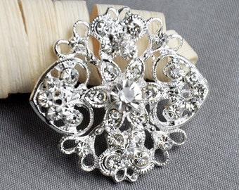 5 Large Rhinestone Button Embellishment Pearl Crystal Wedding Brooch Bouquet Invitation Cake Decoration Hair Comb Clip BT405