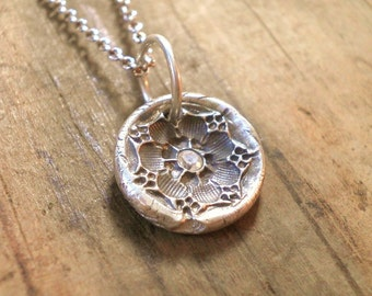 Custom Fine Silver Rustic Flower - Vintage Button Collection