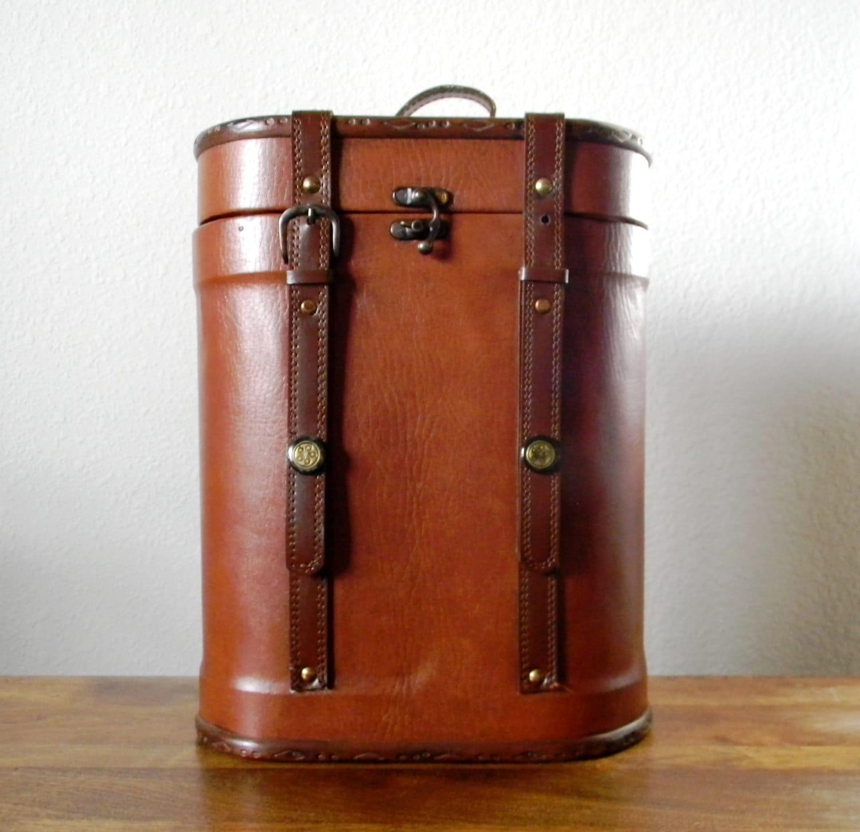 Vintage Leather Wine Bottle Carrier