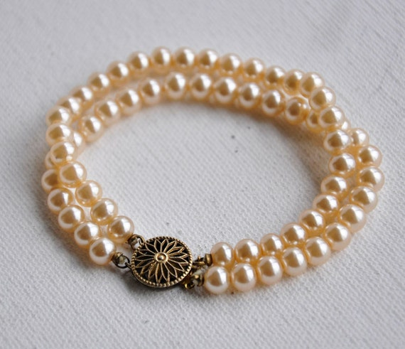Double Strand Cream Pearl Bracelet Bridal Jewelry Something Old Item no 3755