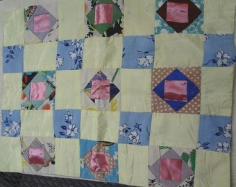 Vintage Patchwork Pillow Cover  / Miniature Quilt / Shabby Chic Doll Blanket