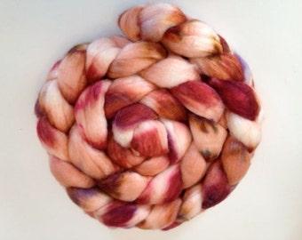 "Hand-dyed Superwash Merino/Silk top roving 4.2 oz.  ""Raspberry Cinnabon"" spinning fiber"