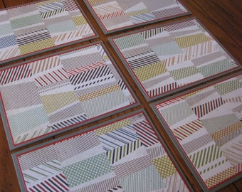 Geometric Patterned Notecards with Coordinating Envelopes - Set of 6 - Handmade Set of Notecards