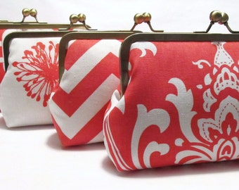 SALE 20% OFF 5 Premier Print Bridesmaid Clutches,Silk Lined Coral And White Custom Clutches,Bridesmaid Gifts,Weddings,Bridal Accessories