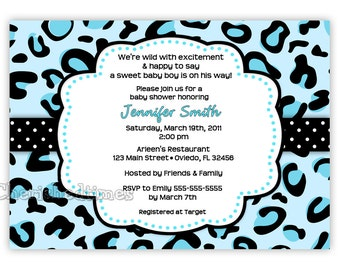 Blue Leopard Boy Baby Shower Invitation (Digital File)