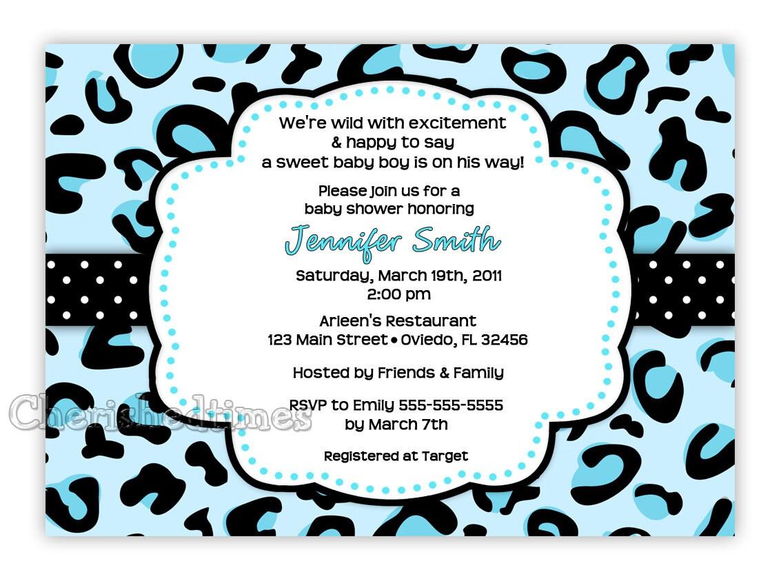 blue leopard boy baby shower invitation digital file