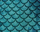 Turquoise on Black Large Fish Scale Mystique  Lycra Fabric