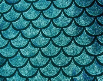 Turquoise on Black Large Fish Scale Mystique  Lycra Fabric