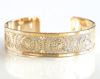 Gold cuff bracelet, Gold cuff, Gold bracelet, gold bangle, mandala jewelry, dainty gold bracelet, delicate gold bracelet, modern jewelry