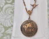 brass locket necklace, the world locket, peace locket, map locket, ONE  WORLD,  antiqued brass globe  locket necklace