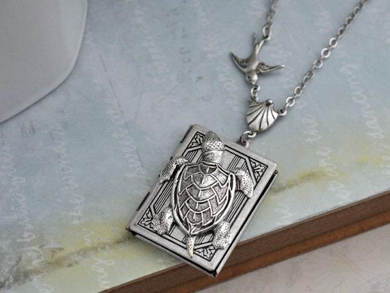 silver locket, turtle locket, sparrow locket, BEST OF FRIENDS, silver turtle and bird book style locket necklace antique silver