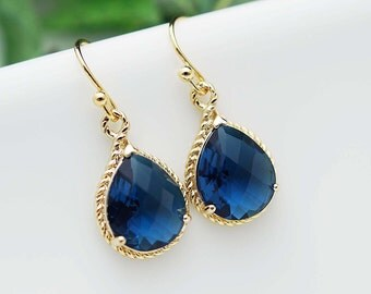 Bridal Earrings Bridesmaid Earrings Sapphire Gold Trimmed Pear Cut Drop Earrings - Dangle Earrings