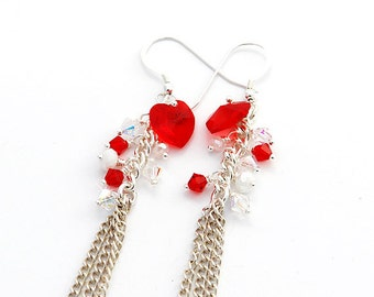 Red Hot Love Earrings With Swarovski Crystals And Silver Plated Chain