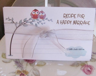 Wedding Advice Cards, Bridal Shower Advice Card, Recipe For A Happy Marriage, Marriage Advice Cards, Happy Marriage 50 Cards