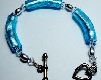 Bracelet, Handmade, Beads, Beautiful Turquoise Aqua Glass Tube Beads, Silver, Swarovski Beads Toggle Clasp