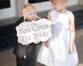 Wedding Sign Here Comes The Bride Wood White Shabby Custom Photo Prop Aisle Flower Girl Ring Bearer