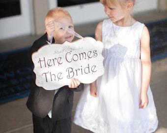 Wedding Sign Here Comes The Bride Wood White Shabby Custom Photo Prop Aisle Flower Girl Ring Bearer